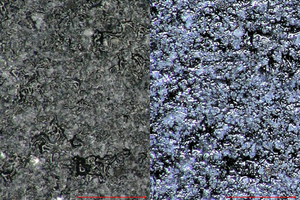 "<div class=""bildtext""><span class=""textmarkierung"">»2</span> Surface of a facade panel, recorded with HDR (right) and without HDR (normal image, left)</div>"