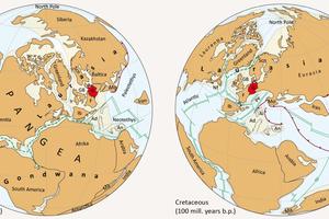 "<div class=""bildtext""><span class=""bildnummer"">»1</span> Global plate tectonic development from the Triassic to the Cretaceous </div>"