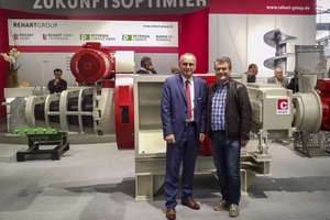 """<div class=""""bildtext""""><span class=""""textmarkierung"""">» </span>Klaus Schülein, Managing Partner at the Rehart Group (left) with Bernhard Schmidhammer, Technical Manager and Authorized Officer, Schlagmann Poroton, pictured in front of the Petersen ZAR 450 G clay purifier, which is being supplied to </div>"""