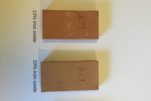 "<div class=""bildtext""><span class=""textmarkierung"">»5</span> Samples with different additions of iron oxide, fired at 850° C</div>"