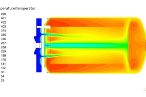 "<div class=""bildtext""><span class=""bildnummer"">»2 </span>CFD simulation of evaporator – simulated temperature profile (left) and flow field (right) for the final-design evaporator in operation with HHO at <br />100 kW input power and λ = 0.13</div>"