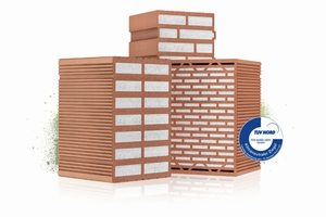 "<div class=""bildtext"">» Poroton-S9, Poroton-T7 and Poroton-S8 bricks from Schlagmann Poroton carry the TÜV Nord certificate ""climate neutral bricks""</div>"