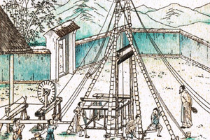 "<div class=""bildtext""><span class=""bildnummer"">»3a </span>Chinese depiction of a drilling site from the 13<sup>th</sup> century: even in those times several 100-m-deep drillings were possible, drilling time up to ten years</div>"