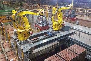 "<div class=""bildtext""><span class=""bildnummer"">»1</span> Robotized dehacking at Wienerberger's Denton plant in the UK </div>"
