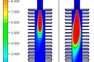 """<div class=""""bildtext""""><span class=""""bildnummer"""">»9</span> (links) und Temperaturverteilung (rechts) der Brenner mit 3 mm- und 4,5 mm-Düse bei 0,9 bar Gasdruck</div>"""