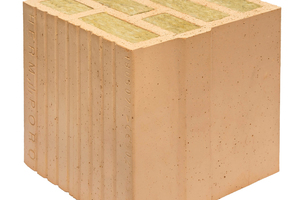 """<div class=""""bildtext""""><span class=""""bildnummer"""">» </span>Vertically perforated clay block with large perforations and integrated thermal insulation Porotherm 26 W.i Objekt Plan</div>"""