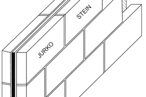 """<div class=""""bildtext""""><span class=""""bildnummer"""">» </span>Double-leaf wall structure consisting of two Jurko slabs with Torfoleum insulation on the inside</div>"""