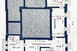 "<div class=""bildtext""><span class=""bildnummer"">» </span>Floor plan of the Keller with floor over the cellar</div>"