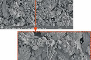 """<div class=""""bildtext""""><span class=""""bildnummer"""">»Abb. 4:</span> Neu gebildetes Calcitkristall auf der Ziegeloberfläche per REM</div>"""