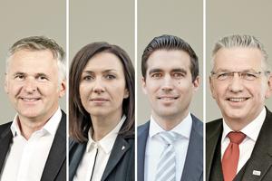 """<div class=""""bildtext_en""""><span class=""""bildnummer"""">»</span> Deutsche Poroton's new board (from left): Johannes Edmüller, CEO, Heidrun Keul, Deputy Member of the Board, Jürgen Habenbacher, Deputy Member of the Board, Clemens Kuhlemann, Managing Director</div>"""