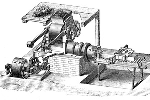 "<div class=""bildtext_en""><span class=""bildnummer"">»</span> Horizontal brick press of Hertel &amp; Co. based in Nienburg originating from 1861, Gottgetreu, 1869</div>"