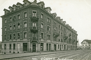 """<div class=""""bildtext_en""""><span class=""""bildnummer"""">» </span>Building complex at Forchstrasse of 1896 – 1897. Demolished to a great extent in 1971</div>"""