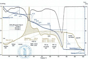 """<div class=""""bildtext_en""""><span class=""""bildnummer"""">»6</span> DSC and TG curves for the BMR-CH mix, determination of the raw material enthalpy after setting the base line, left Processor 1 and dH<sub>R</sub>= +107kJ/kg, right Processor 2 and dH<sub>R</sub> = -156 kJ/kg</div>"""