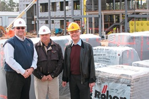 """<span class=""""bildunterschrift_hervorgehoben"""">»</span> Röben's managing director Wilhelm Röben (at right) dropped by in Durham to see how the project is progressing. Scott D. Mollenkopf, president of Triangle Brick (at left), and TBC director Ricky Merritt gave him a tour of the site<br />"""