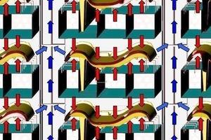 """<span class=""""bildunterschrift_hervorgehoben"""">»25</span> Impact airflow onto roof tiles in an XStream rapid dryer (red = hot air, blue = moist air)<br />"""