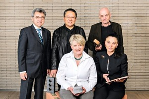 "<span class=""bildunterschrift_hervorgehoben"">»</span> Johann Windisch, Wienerberger AG (back left) with the jury of the Brick Award 2014: Ewa Kuryłowicz (front left) and Vera Yanovshtchinsky (front right), Wang Shu (back centre) and Pavol Pa ˘n   ák (back right)"