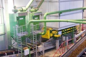 ››6 Kastenbeschicker für Rohmaterial mit zwei Entstaubungsanlagen à 5000 m³/h