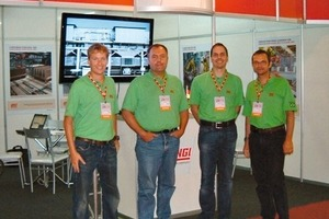 Lingl booth with Moritz von Ysenburg, Brasilian Lingl representative; Karl Liedel, Sales Director; Thomas Diesenbacher, Sales; Andreas Lingl, Managing Director (f.l.t.r.)<br />