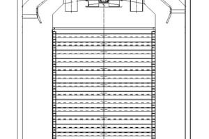 """<span class=""""bildunterschrift_hervorgehoben"""">»29</span> Cross-sectional view of an XStream rapid dryer for roof tiles, with stackable drying supports and platform cars<br />"""