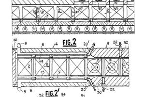 "<span class=""bildunterschrift_hervorgehoben"">»1</span> Recirculation ventilators installed in recesses in the ceiling – Patent Four Industriel Belge (from the original Patent documentGB898090/BE576409)<br />"