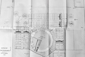 "<span class=""bildunterschrift_hervorgehoben"">»5</span> Draft drawing of a brickmaking plant with ""ring oven"" (annular kiln) by Albrecht Türrschmiedt (from table in ""Notizblatt …"", vol. 1, 1868)<br />"