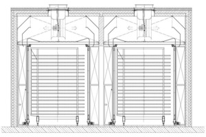 """<span class=""""bildunterschrift_hervorgehoben"""">»17</span> Cross section of an air wall dryer with dryer cars and railbound airwalls<br />"""