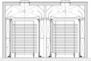 "<span class=""bildunterschrift_hervorgehoben"">»17</span> Cross section of an airwall dryer with dryer cars and railbound airwalls<br />"