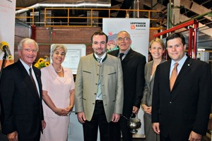 "<span class=""bildunterschrift_hervorgehoben"">»1</span> Delighted with the investment in the brickworks in Vatersdorf: Kastulus Bader, owner of the Leipfinger-Bader brickworks, with his wife Elfriede Bader-Nusser, Manfred Weber, Member of the European Parliament, Pastor Dr. Robert A. Gonzales, Caterina Bader and husband Thomas Bader, owner of the Leipfinger-Bader Brickworks (from left to right)<br />"