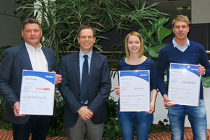 """<div class=""""bildtext_en""""><span class=""""bildnummer"""">»</span> Keller's Managing Director Dr Jochen Nippel (second from left) and his employees were delighted with the successful certification</div>"""