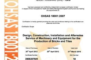 "<span class=""bildunterschrift_hervorgehoben"">»</span> Bongioanni Macchine S.p.A. has been awarded certification according to OHSAS 18001:2007<br />"