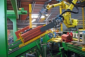"""<span class=""""bildunterschrift_hervorgehoben"""">»4 </span>If the production process calls for rearranging bricks from one conveyor on another, or even turning them around along the way, a gooseneck robot with a fifth and sixth axis – like an R-2000i – is the right answer"""