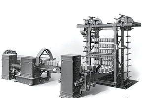 """<span class=""""bildunterschrift_hervorgehoben"""">»1</span> Today's version of a """"fully automatic brick handling machine"""" cuts wet bricks with a universal or multi-wire cutter, turns them automatically, if necessary, and carefully sets them in double pairs on two lath pairs (or other pallet types)<br />"""