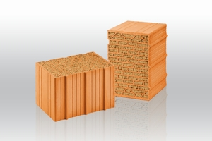 """<span class=""""bildnummer"""">» </span>Unipor W07 Silvacor: With its insulating core consisting of pure coniferous woods, this masonry block combines solid wall-building material and renewable raw material for the first time"""