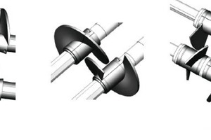 "<span class=""bildunterschrift_hervorgehoben"">»8</span> Supplementary impellers (at left) that mesh better (centre), and boltless paddle holders for less backup"