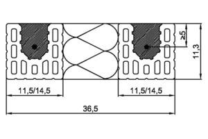 ››6 Mögliche Anordnungen von Zuggurten für Flachstürze mit bau-seitiger Wärmedämmung (Wanddicken 300 und 365 mm). Dämmstoff nach DIN EN 13162, DIN EN 13163, DIN EN 13164, DIN EN 13165 oder DIN EN 13166. Baustoffklasse mindestens normal entflammbar