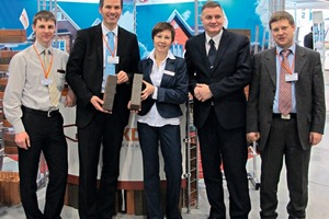 "<span class=""bildunterschrift_hervorgehoben"">»2</span> Head of the sales department, Ms Irina Ivanovna Somova (centre) was highly satisfied with all aspects of the fair and sees excellent opportunities to market high-quality facing bricks in Siberia<br />"